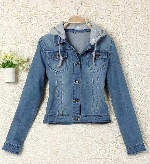 Women Jean Jacket Coat Fashion Removable Hooded Denim
