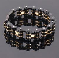 men Supernova Sale 18mm Width Men's Cool Black Gold Motorcycle Chain Bracelet Bike Jewelry 316L Stainless Steel