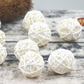 20pcs/Lot 3cm Baby Shower Rattan Ball, New Year Decoration Rattan Wicker Balls Party Decoration DIY Sepak Takraw Balls