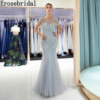 Erosebridal Grey Beaded Mermaid Evening Dress Sheer Neck Elegant Long Pearls Prom Gowns U Back Neck Design Drop Shipping