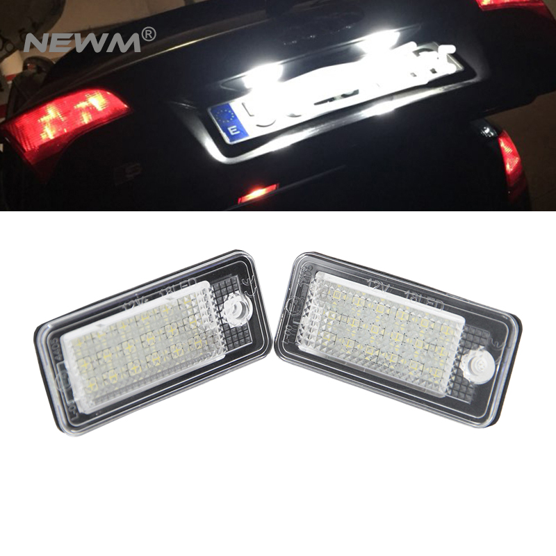 2 Pcs Free Shipping High quality car license plate light for AUDI tail light led number lights for A3/ A3 Cabriolet/A4/S4 B6/B7 white car no canbus error 18smd led license number plate light lamp for audi a3 s3 a4 s4 b6 b7 a6 s6 a8 q7 147