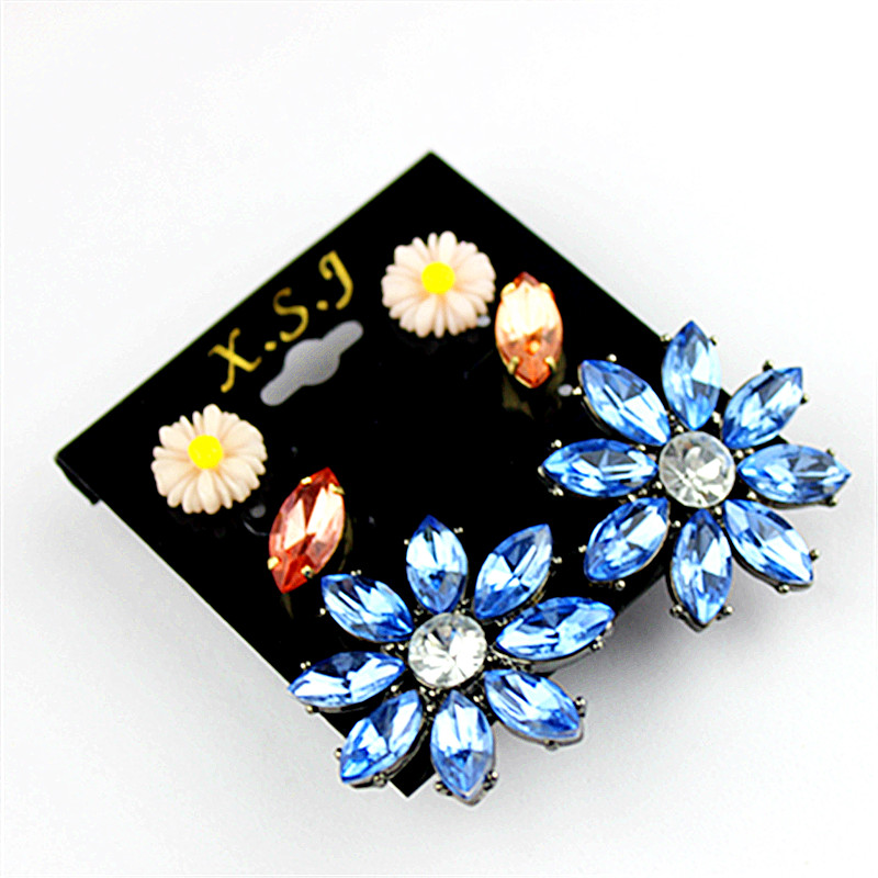 New fashion gorgeous women jewelry Girl Birthday Party flower type earnail 3 pairs of /set beautiful earrings agent shipping
