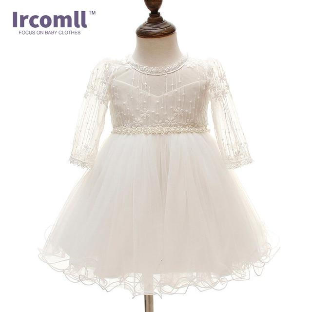 b13b20d8d Bebê recém-nascido Menina Batismo Batismo Vestido Branco Princesa vestido  de Renda Vestido infantil Da