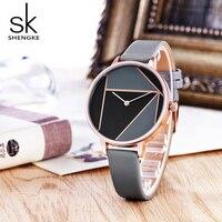 Shengke Leather Women Watches Top Brand Simple Casual Strap Watch 2018 Relogio Feminino Reloj Mujer Bracelet