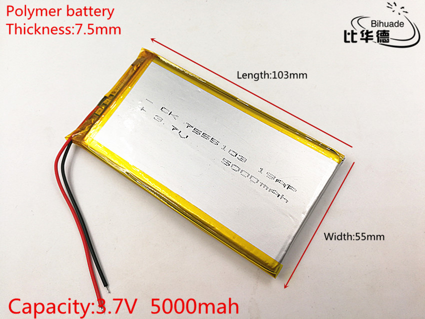 Charitable 1pcs/lot 7555103 3.7v 5000mah Polymer Lithium Li-po Rechargeable Battery For Gps