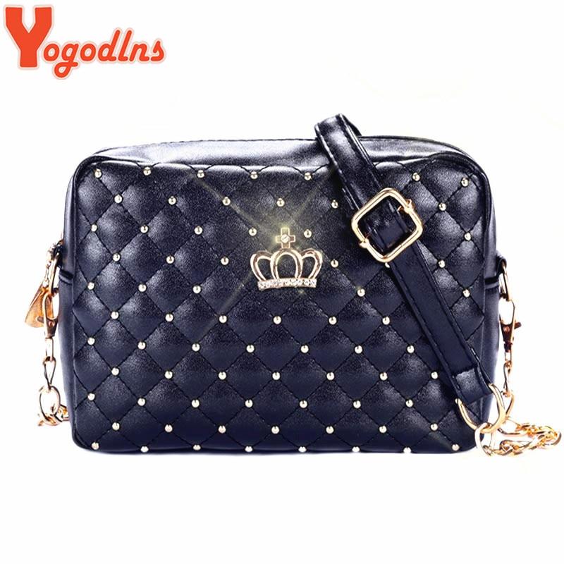 bag deboro 1762 - Yogodlns Women Bag Fashion Women Messenger Bags Rivet Chain Shoulder Bag High Quality PU Leather Crossbody Quiled Crown bags