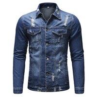 2018 New Brand Button Single Breasted Windproof Men Hole Beggar Windbreaker Jacket Coat Jacket Hooded Demin Men Jacket XXXL