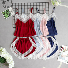 Women Sleep Lounge Lace Trim Silk Cami and Shorts Pajamas Se