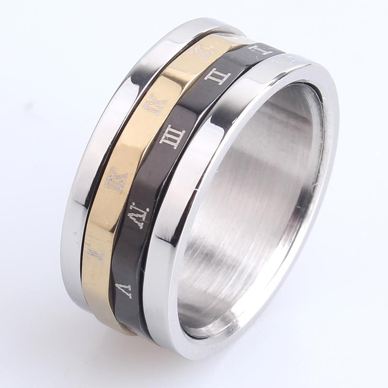 free shipping 8.5mm double circle Rome number spinner 316L Stainless Steel finger rings for women men wholesale