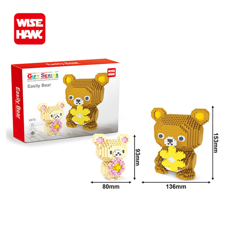 Wisehawk nanoblocks new item super big Huge Rilakkuma mini plastic building bricks Anime cartoon DIY model educational toys kids