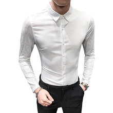 New Fashion Men Dress Shirt Black White Business Banquet Men Shirt Asian Size XXL XXXL Classic Men Stitching Shirts(China)