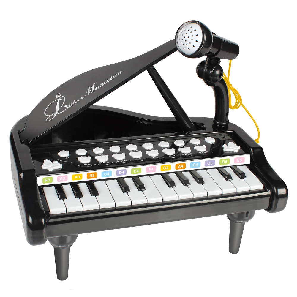 24 Keys Piano Keyboard Toy Electronic Musical Multifunctional Instruments with Microphone for Kids Learning & Education(1505A)