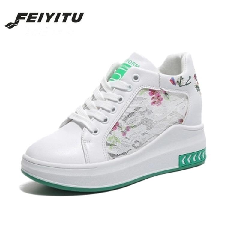 9a82edd268cb71 Plate Blanc Feminino Broderie Chaussures Talons Noir D'été Feiyitu Tenis  Coins Sneakers Mode Nouvelle Femme forme Femmes Dames ...
