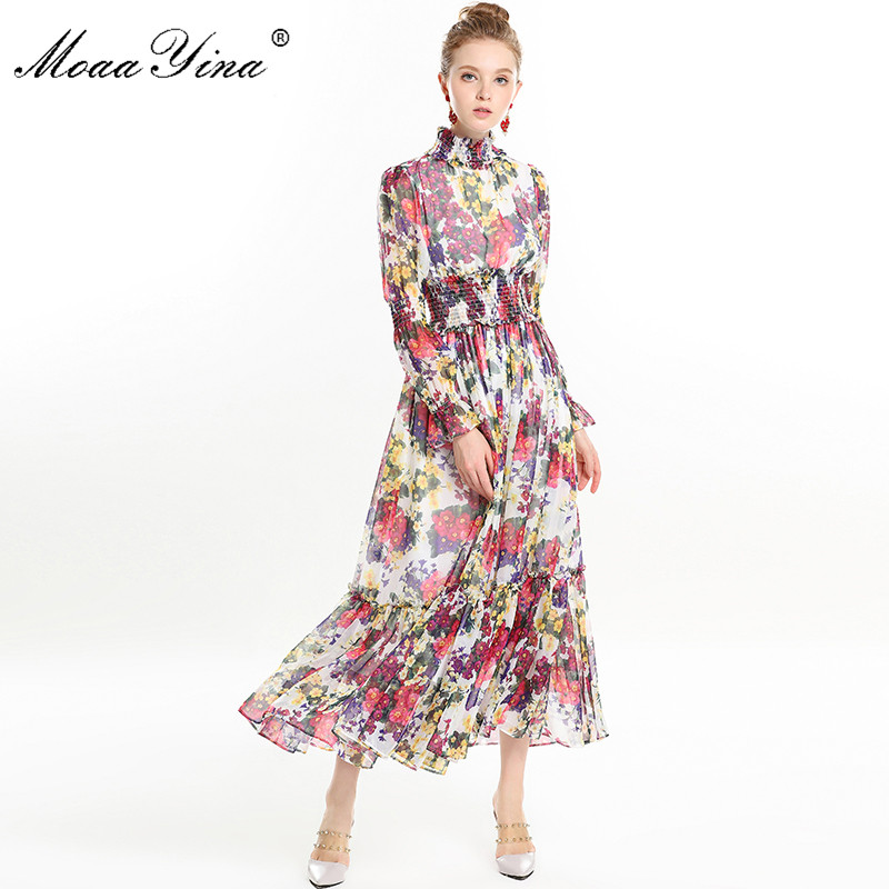 MoaaYina High Quality Women s Spring Beach Chiffon Turtleneck Dress Elegant Elasticity Waist Floral Print Runway