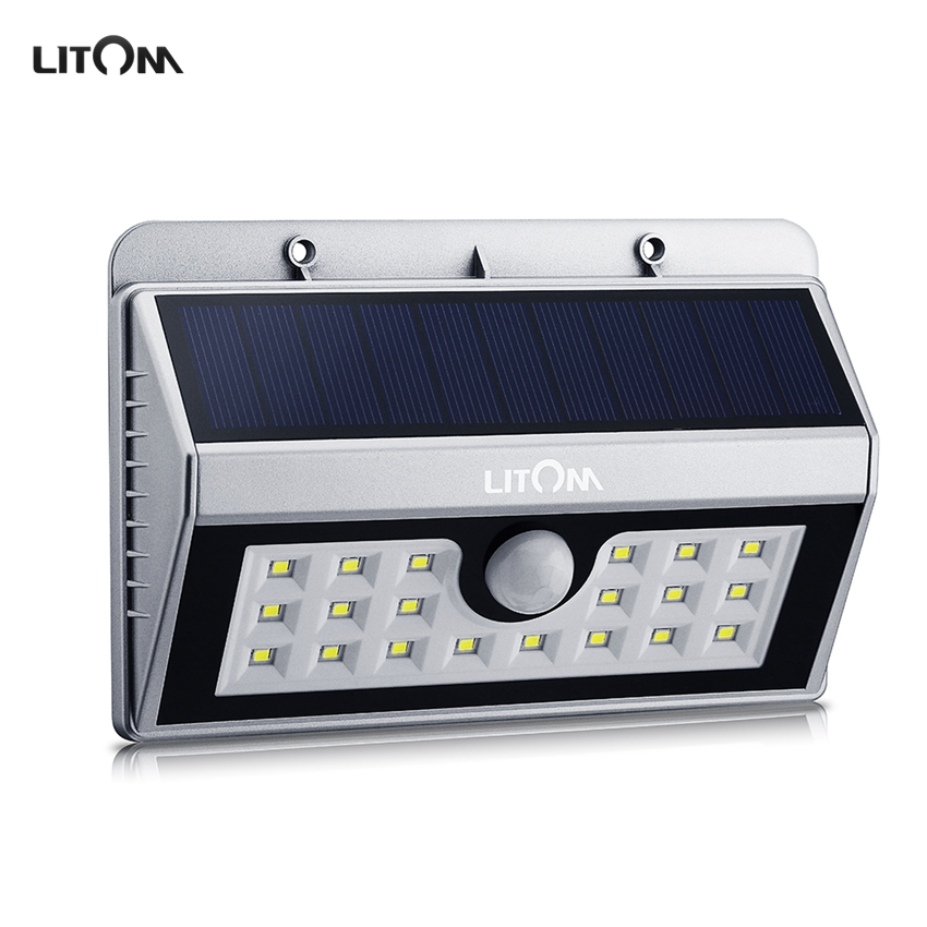 buy litom wireless solar powered 20 led solar lampion pir motion sensor solar. Black Bedroom Furniture Sets. Home Design Ideas
