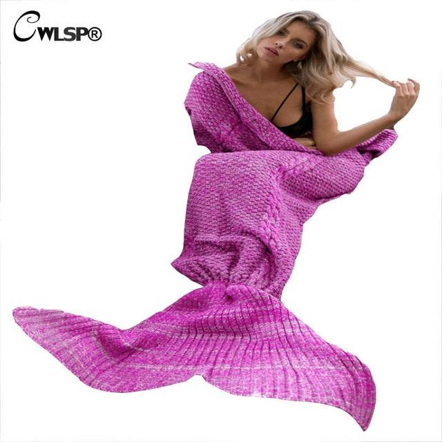Tejer Moda Sirena de Cola caliente Saco de dormir Mantas Sofá Caliente Otoño Invierno Popular pijama bottoms menina inverno QL2682