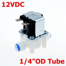 "DC 12V NC(Normal Close) 1/4"" Hose Pipe OD(6.35mm) Contection POM for RO Water air oil Electric Plastic Solenoid Valve(China (Mainland))"