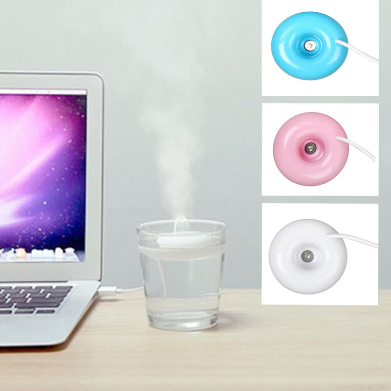Free_on Mini Portable Donuts USB Air Humidifier Purifier Aroma Diffuser Steam For Home