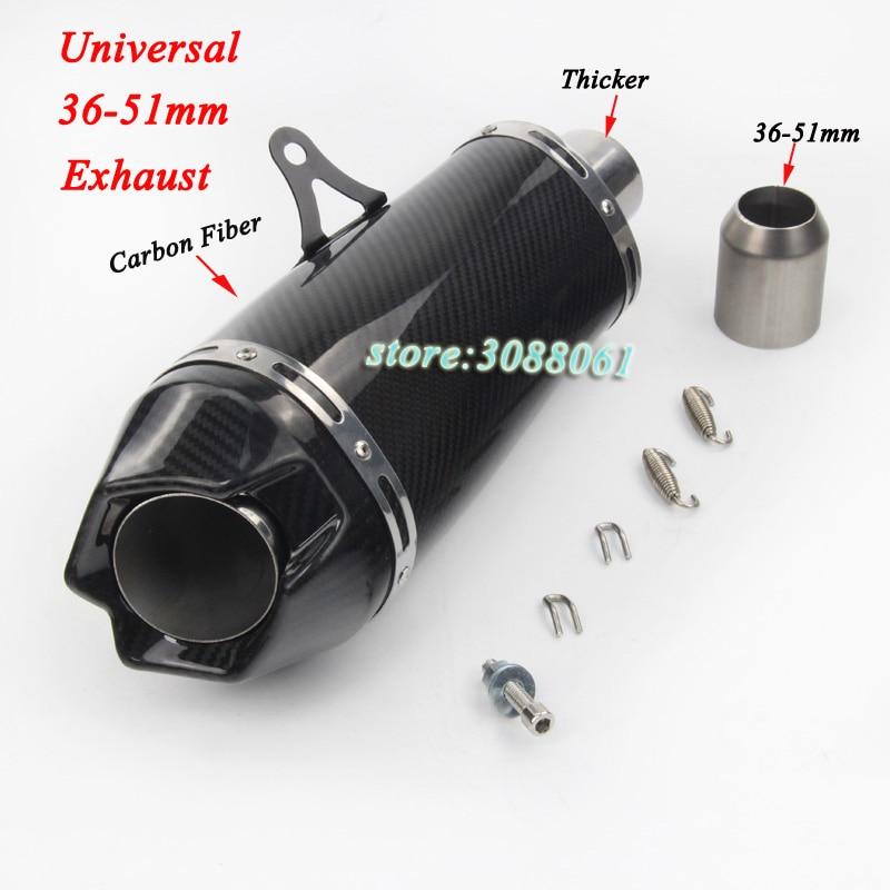 Silencieux modifié universel d'échappement de Scooter de Fiber de carbone de moto d'échappement de 36-51mm pour Z750 R6 GSXR600 Ninja300 S1000R ZX-6R CBR