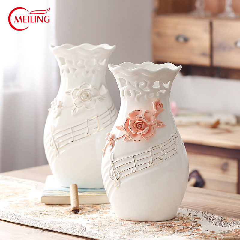 Unique White Pink Flower Hollow Vase With Music Notes Big Handmade Pottery  Vases Fine Art Ceramics Modern Home Decoration In Vases From Home U0026 Garden  On ...