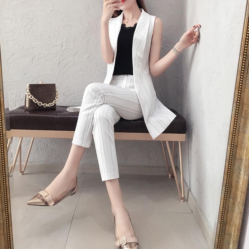 Professional Suit Vest Suit Female 2019 Summer New Korean Fashion Temperament Summer Pants Lattice Two Sets Of Spring