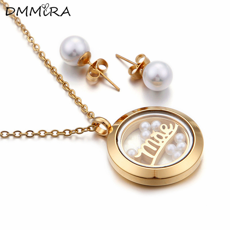 Fashion Women Mother Silver Gold  Stainless Steel Glass Round White Pearls  Necklace Earrings Jewelry Sets For Mother Gift