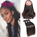 360 Lace Frontal With Bundle Pre Plucked 360 Frontal With Bundles 7A Indian Straight Virgin Hair Human Hair Bundles With Closure