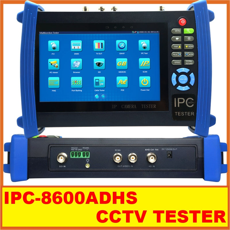 7inch CCTV IP Camera Tester Touch Screen Monitor SDI/AHD/TVI/CVI HDMI 1080P IPC-8600ADHS CCTV TESTER from asmile