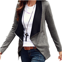 2016 Autumn Winter Women Basic Coat Jackets Korean Style Slim Turn Down Collar Side Zipper Cardigan Plus Size Outerwear S-2XL