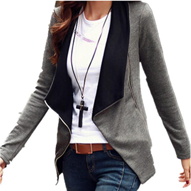 2017 Outono Inverno Mulheres Casaco Básico Casacos Estilo Coreano Magro Turn Down Collar Side Zipper Cardigan Outerwear Plus Size S-2XL