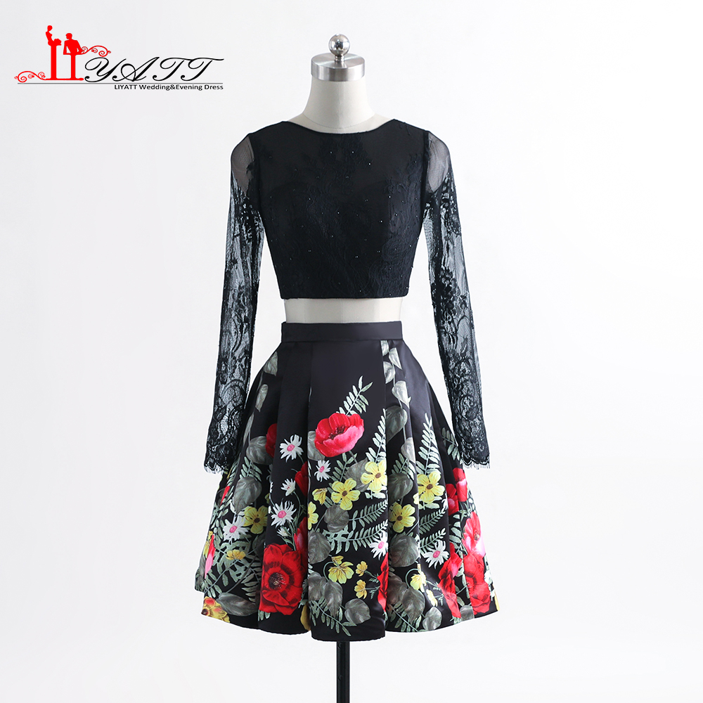 Two Pieces Long Sleeves Floral Print Cocktail Dresses Lace Bodice ...