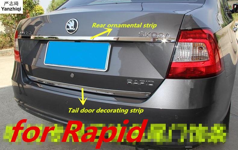 Stainless Steel Rear Ornamental Strip Tail Door Decorating Strip Car Styling For Skoda 2014-2019 Rapid / Rapid Spaceback