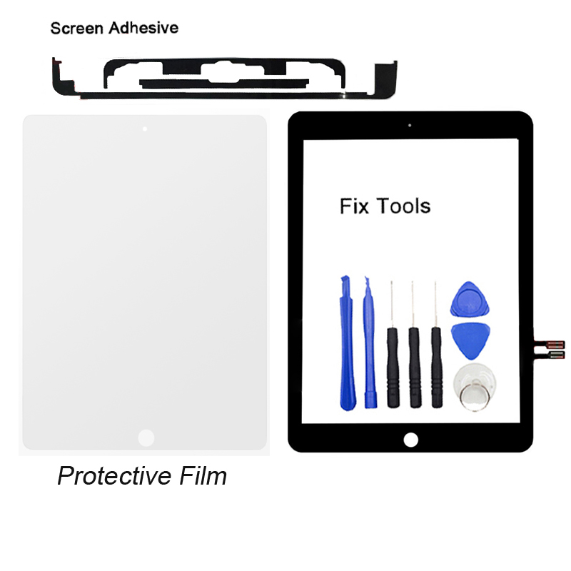 1Pcs For iPad 9.7 (2018 Version) A1893 A1954 Front glass Touch Screen Digitizer Outer Panel+Screen Adhesive+Protect film+Tools 1pcs for ipad pro 12 9 2015 version a1584 a1652 touch screen digitizer front outer panel glass tools