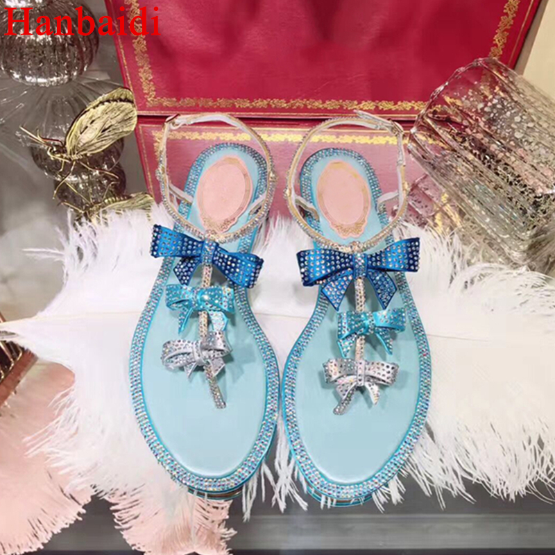 Hanbaidi Pink Blue Women Summer Sandals Luxury Rhinestone Bowknot Peep Toe Buckle Strap Women Flats Runway Women Outdoor Shoes цена