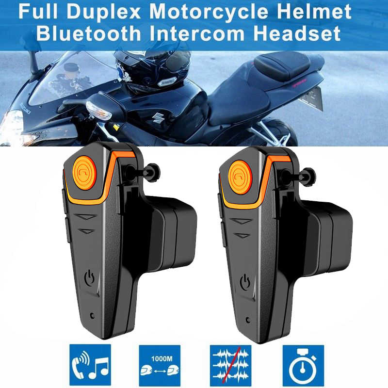 2 pièces 1000M BT-S2 étanche Interphone Intercomunicador Moto casque Bluetooth casque Moto Communication Interphone FM GPS
