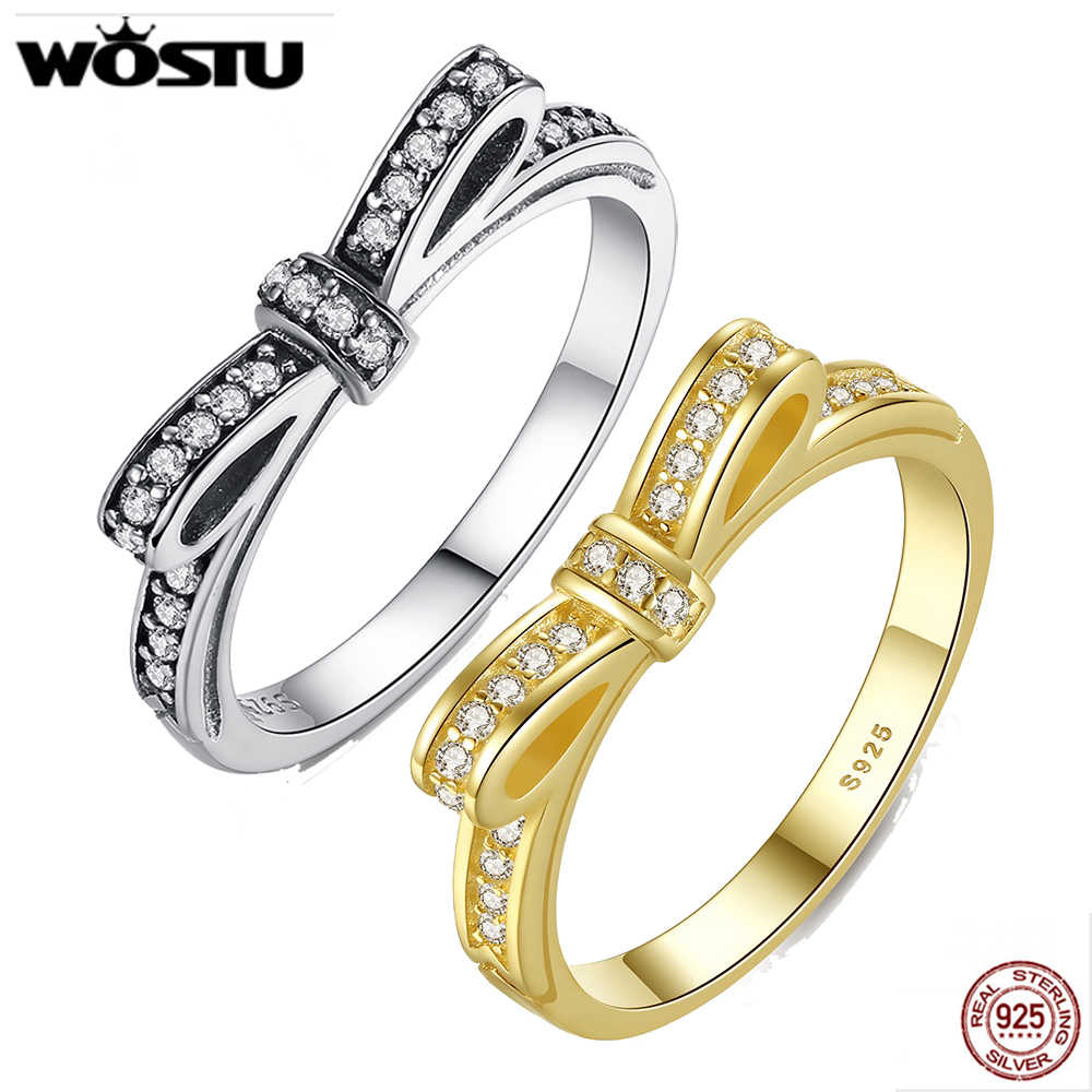 WOSTU 100% 925 เงินสเตอร์ลิง Bowknot งานแต่งงานแหวนคริสตัลสำหรับสตรีแฟชั่นยุโรปเดิมแหวนเครื่องประดับของขวัญ FB7104