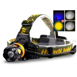 2 Q5 led headlamp Blue yellow fishing white light headlight lampe frontale head torch lamp Zoomable torch lamp head flashlight