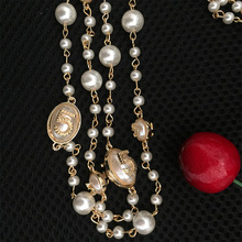 Female necklace  Long chain 5 pearl necklaces & pendants collares mujer 2017 chokers necklaces bohemian jewelry