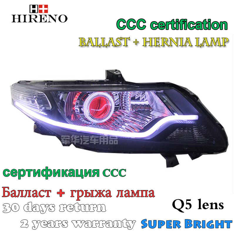 Hireno Modified Headlamp for Honda City 2008-2014 Headlight Assembly Car styling Angel Lens Beam HID Xenon 2 pcs hireno headlamp for cadillac xt5 2016 2018 headlight headlight assembly led drl angel lens double beam hid xenon 2pcs