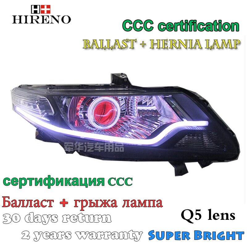 Hireno Modified Headlamp for Honda City 2008-2014 Headlight Assembly Car styling Angel Lens Beam HID Xenon 2 pcs