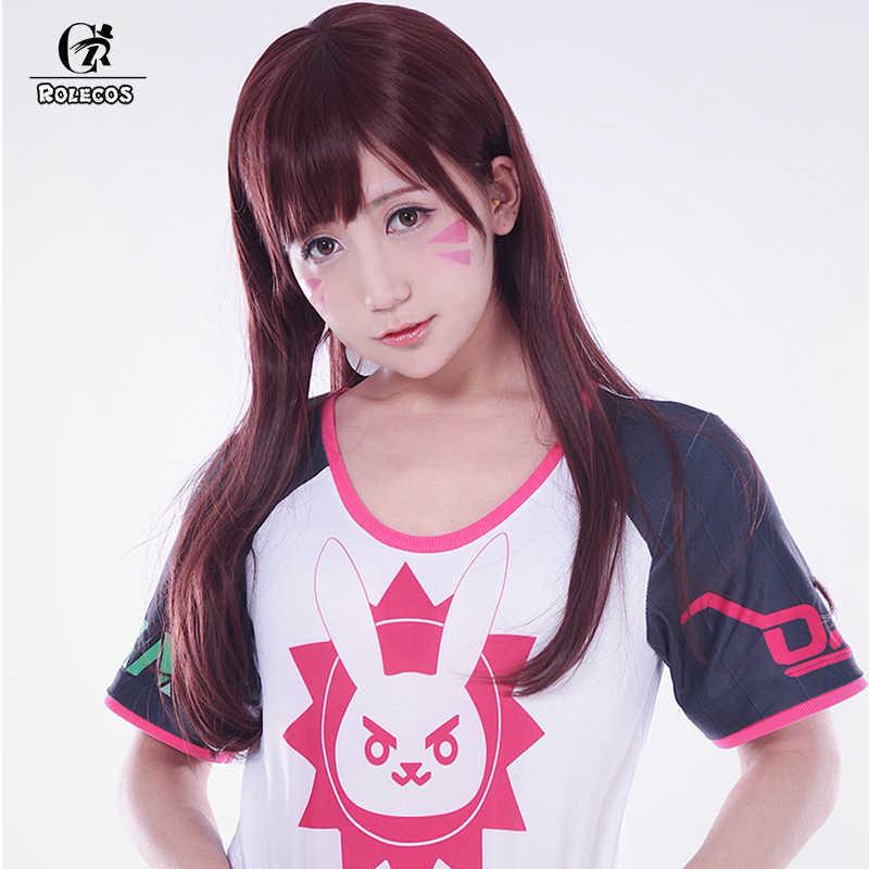 Rolecos Permainan Watchover Cover Majalah Gadis T Shirt D. va Hana Lagu Rahmat Angela Ziegler Besar Rez untuk Wanita Kostum Cosplay