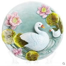 Swan Teal decorative wall dishes porcelain plates vintage home decro crafts room decoration wedding gift