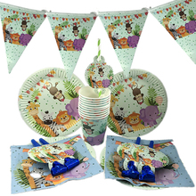 New Jungle Party Decorations Safari Disposable Tableware Set Tropical Theme Birthday Decor Baby Shower Supplies