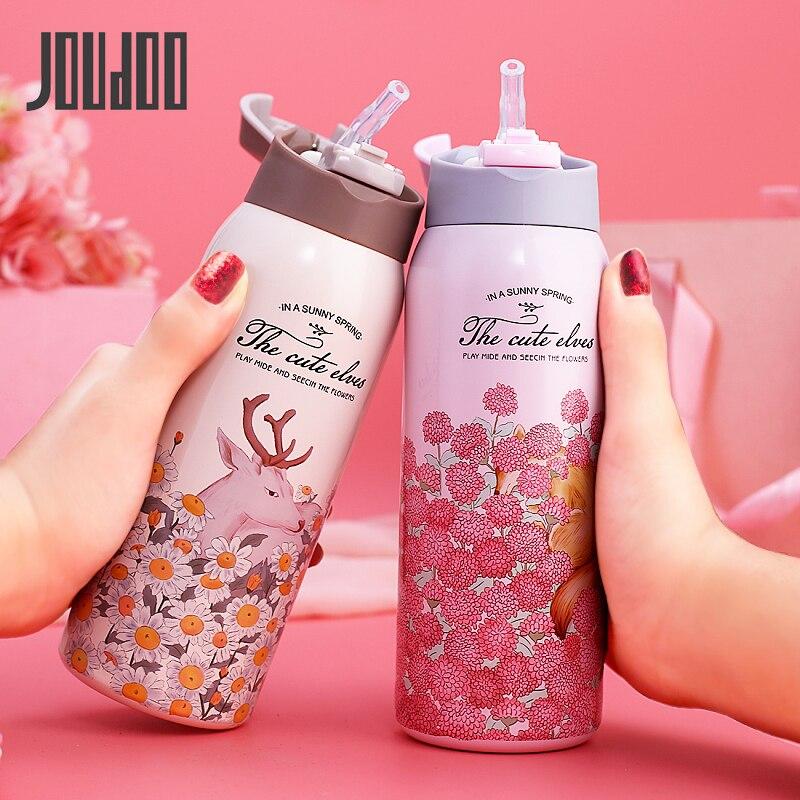 Купить термос joudoo 350 мл/450 мл с трубочкой изоляционная чашка из