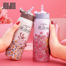JOUDOO 350ml/450ml Thermal Flask With Straw Stainless Steel Insulation Cup Portable Water Bottle Vacuum Tumbler Thermocup 35