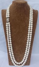 women gift Jewelry Silver Clasp 24INCH AAA 2 ROW 9-10MM WHITE AAA++ AKOYA SOUTH SEA PEARL NECKLACE 24 INCH