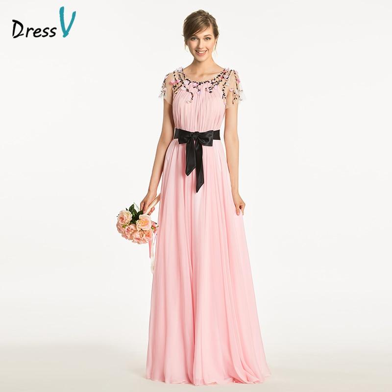 Dressv elegant pink scoop neck a line   bridesmaid     dress   short sleeves beading wedding party women floor length   bridesmaid     dress