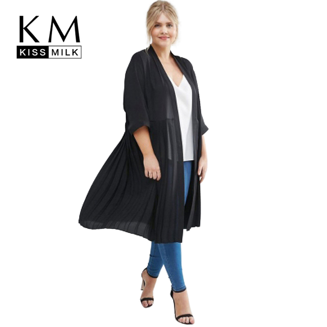 Kissmilk Plus Size Women Clothing Casual Solid Elegant Trench Coat Black Open Stitch Fold Thin Coat Three Quarter Big Size Coat