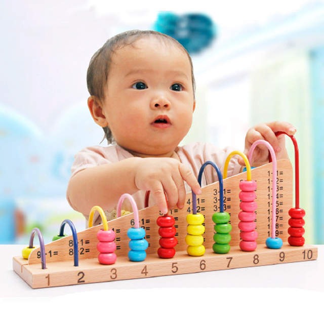 hot toys educational wooden abacus counting beads math toys for kids develop intelligencemultiple colour - Colour Kid
