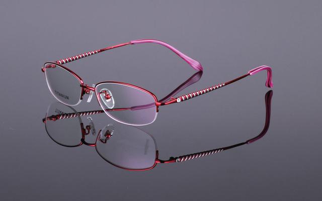 Новые женские Оправы Titanium Половина Оправы очковая оправа Óculos Де Грау Очки Кадров RS-928 4 Цвет Розовый Фиолетовый красный